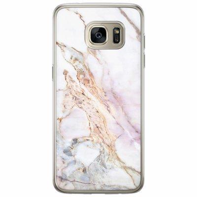 Casimoda Samsung Galaxy S7 Edge siliconen hoesje - Parelmoer marmer