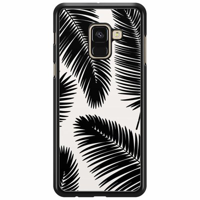 Casimoda Samsung Galaxy A8 2018  hoesje - Palm leaves silhouette