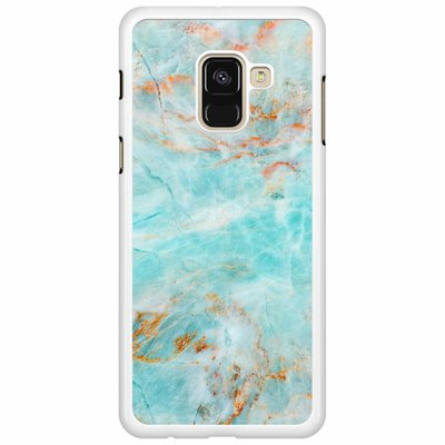 Casimoda Samsung Galaxy A8 2018  hoesje - Turquoise marmer