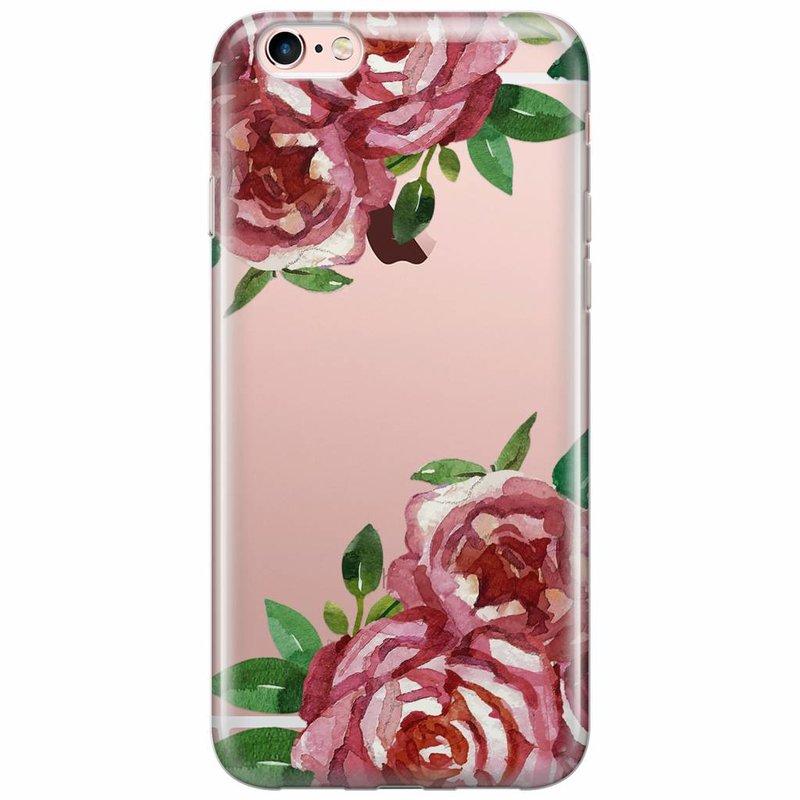Casimoda iPhone 6/6s transparant hoesje - Rode rozen