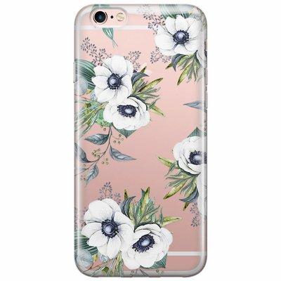 Casimoda iPhone 6/6s transparant hoesje - Bloemenprint wit