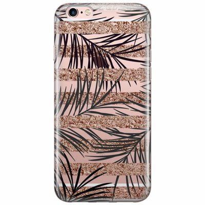 Casimoda iPhone 6/6s transparant hoesje - Rose gold leaves