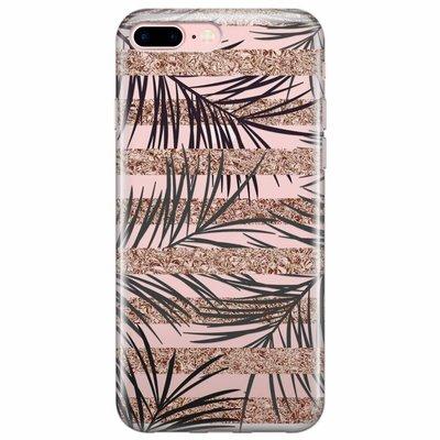 Casimoda iPhone 8 Plus/7 Plus transparant hoesje - Rose gold leaves