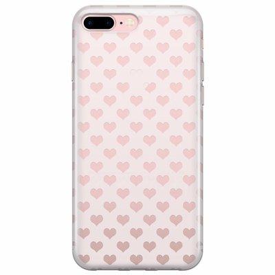 Casimoda iPhone 8 Plus/7 Plus transparant hoesje - Hartjes patroon