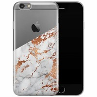 iPhone 6/6s transparant hoesje - Rosegoud marmer