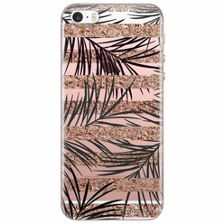 iPhone 5/5S/SE transparant hoesje - Rose gold leaves