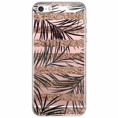 Casimoda iPhone 5/5S/SE transparant hoesje - Rose gold leaves