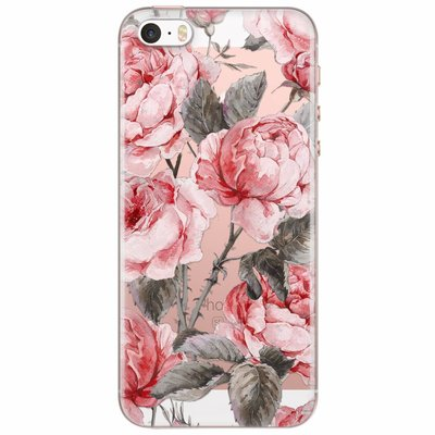 Casimoda iPhone 5/5S/SE transparant hoesje - Moody florals