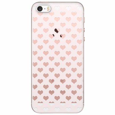 Casimoda iPhone 5/5S/SE transparant hoesje - Hartjes patroon