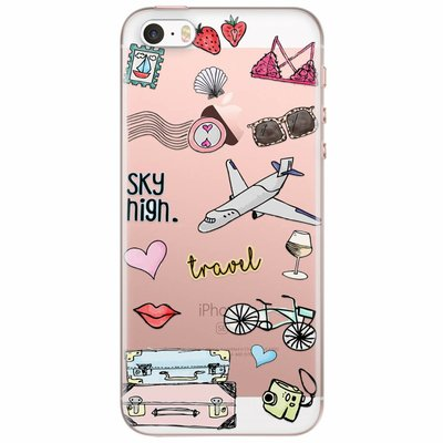 Casimoda iPhone 5/5S/SE transparant hoesje - Let's travel