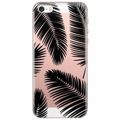 iPhone 5/5S/SE transparant hoesje - Palm leaves silhouette