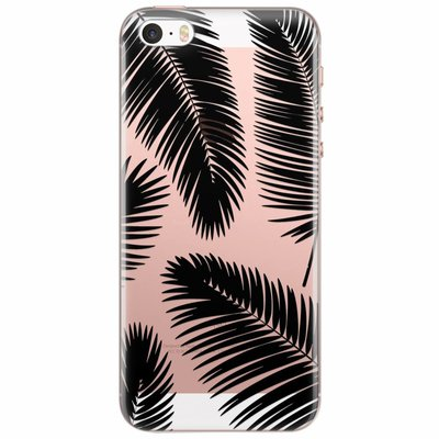Casimoda iPhone 5/5S/SE transparant hoesje - Palm leaves silhouette