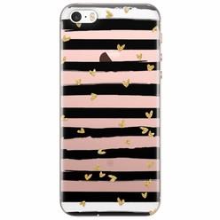 iPhone 5/5s/SE siliconen hoesje - Hart streepjes