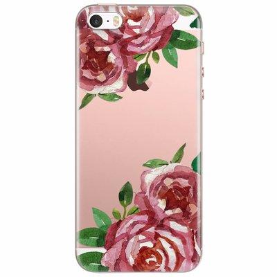 Casimoda iPhone 5/5S/SE transparant hoesje - Rode rozen