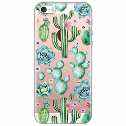 iPhone 5/5S/SE transparant hoesje - All over cactus print