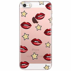 iPhone 5/5S/SE transparant hoesje - Lips & stars