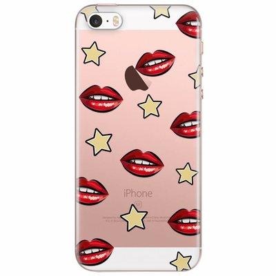 Casimoda iPhone 5/5S/SE transparant hoesje - Lips & stars