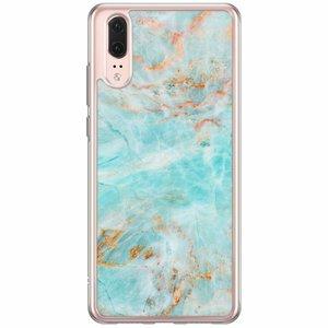 Huawei P20 siliconen hoesje - Turquoise marmer