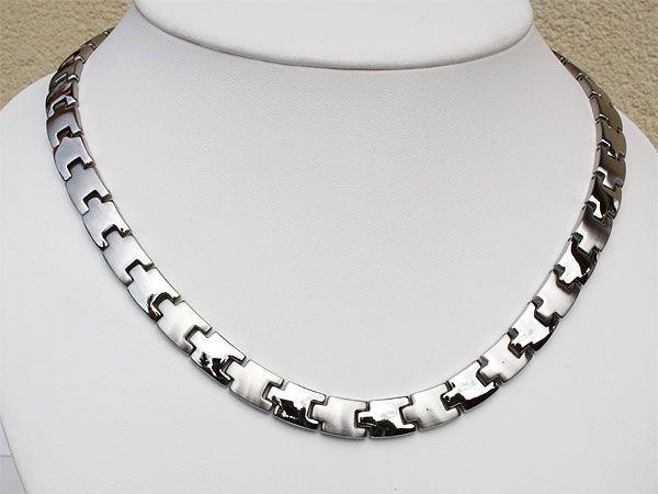 Halsketten für damen  H9015S Magnetschmuck Halskette für Damen und Herren Silber ...