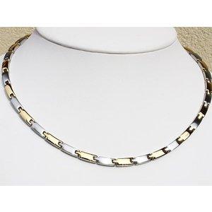 H9031B Schmale Damen Magnetschmuck Halskette bicolor