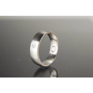 R432a Magnet Edelstafl Ring Silber