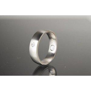 R432a Magnet-Ring Silber mit Schmuckstein