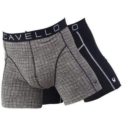 Cavello Underwear Two-pack Boxershorts jute motief en effen zwart met witte streep