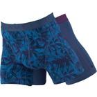 Cavello Underwear Two-pack Boxershorts plant motief en effen blauw met paars