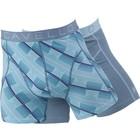 Cavello Underwear Two-pack Boxershorts streep motief en effen grijs met blauwe streep