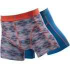 Cavello Underwear Two-pack Boxershorts ruit motief en effen blauw met oranje streep