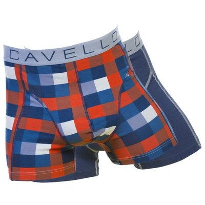 Cavello Underwear Two-pack boxershorts Zomerruit en effen blauw