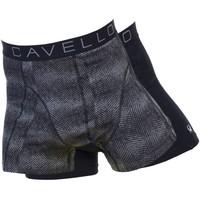 Cavello Underwear Two-pack boxershorts grijs zwart motief en effen zwart