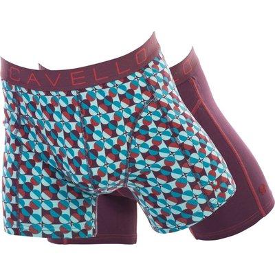 Cavello Underwear Two-pack boxershorts bordeaux rood en blauw