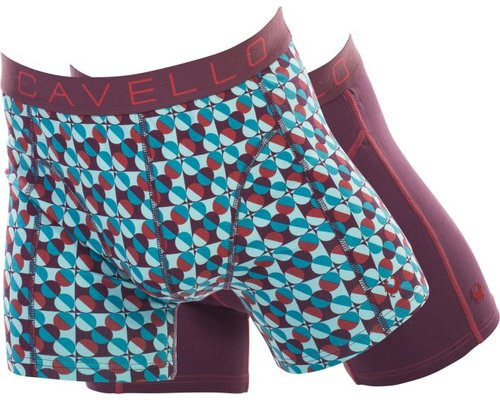 Cavello Underwear Two-pack boxershorts bordeaux rood en blauw