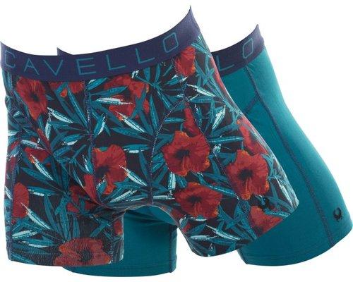 Cavello Underwear Two-pack boxershorts bloem motief en blauw