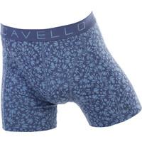 Cavello Underwear Two-pack boxershorts bloem motief en effen blauw