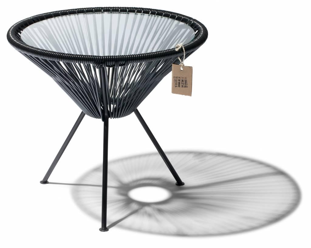Table jap n noir avec plateau en verre le fauteuil for Table avec plateau en verre