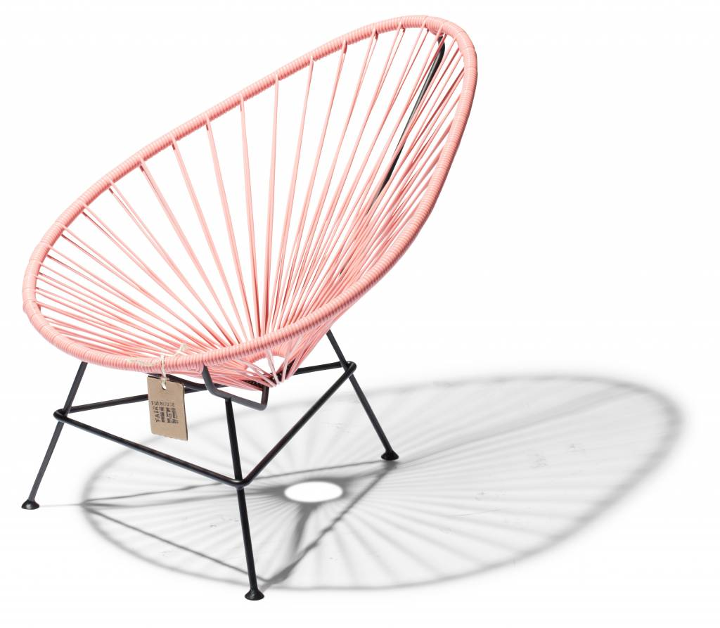 Chair baby pink salmon with black frame the original acapulco chair