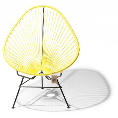 Handmade Acapulco chair canary yellow with black frame