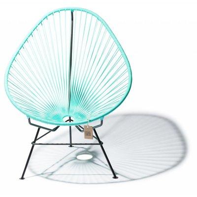 Handgemaakte Acapulco stoel turquoise licht met zwart frame