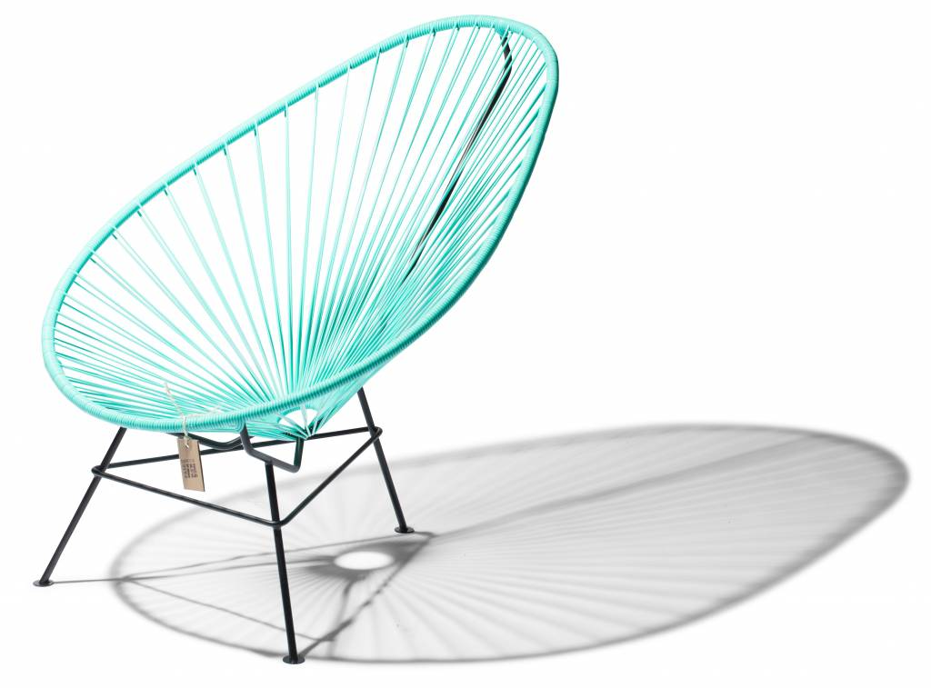 Handmade Acapulco Chair Turquoise Light With Black Frame