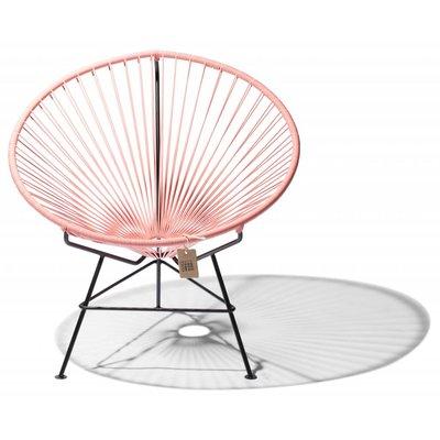 Condesa chair salmon pink, handmade, black frame