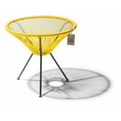 Tisch Japón gelb mit Glastischplatte