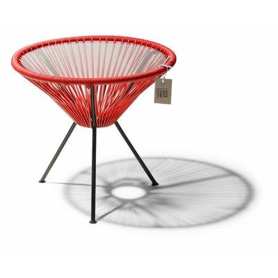 Tisch Japón rot mit Glastischplatte