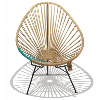 Chaise Acapulco en chanvre avec des détails de turquoise.