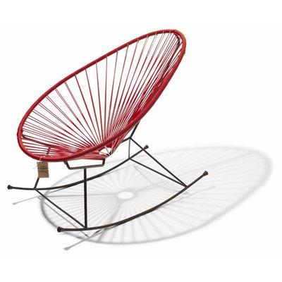 Handgemaakte Acapulco schommelstoel rood met zwart frame - Copy