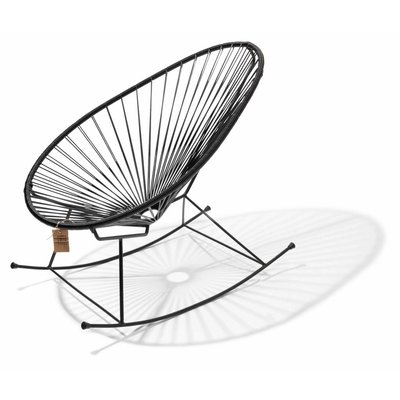 Handgemaakte Acapulco schommelstoel zwart met zwart frame