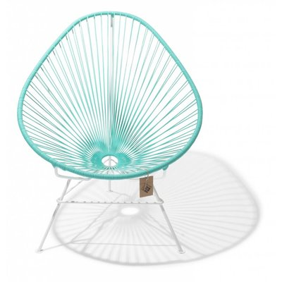 Acapulco chair turquoise light, white frame