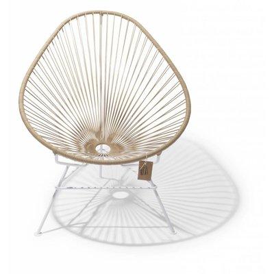Acapulco Stuhl beige, mit weißem Rahmen
