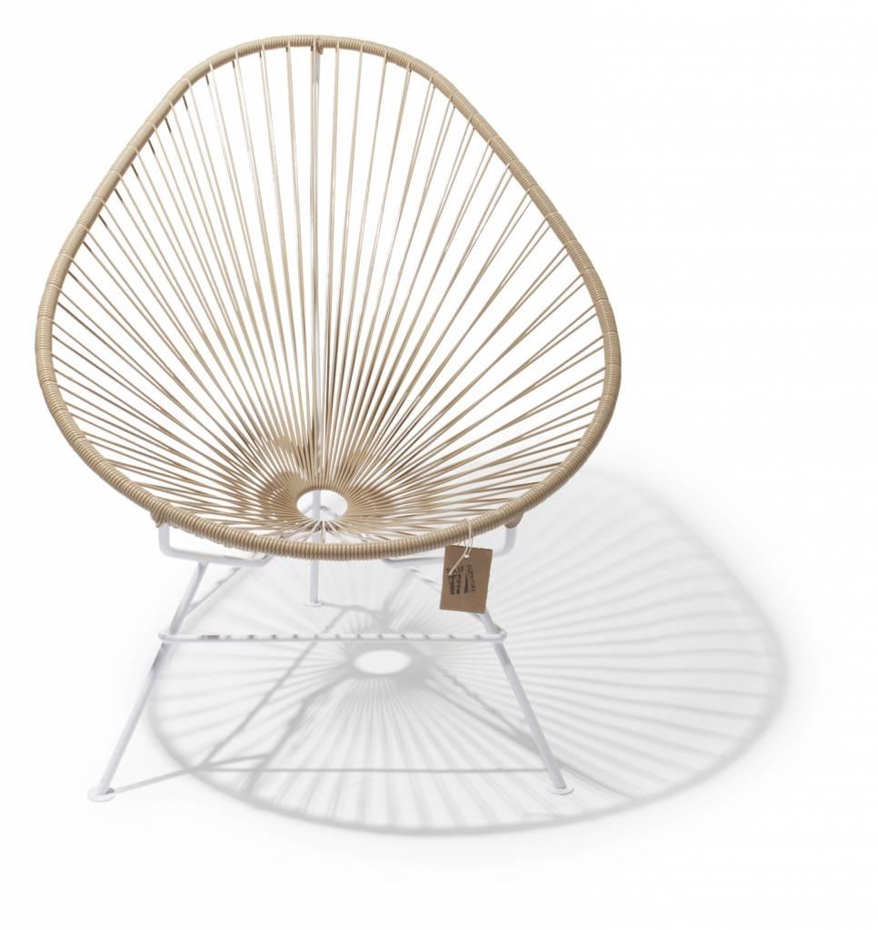 fauteuil acapulco beige cadre blanc le fauteuil acapulco authentique. Black Bedroom Furniture Sets. Home Design Ideas